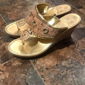 Jack Rogers Marbella Leather Cork Wedge Sandal